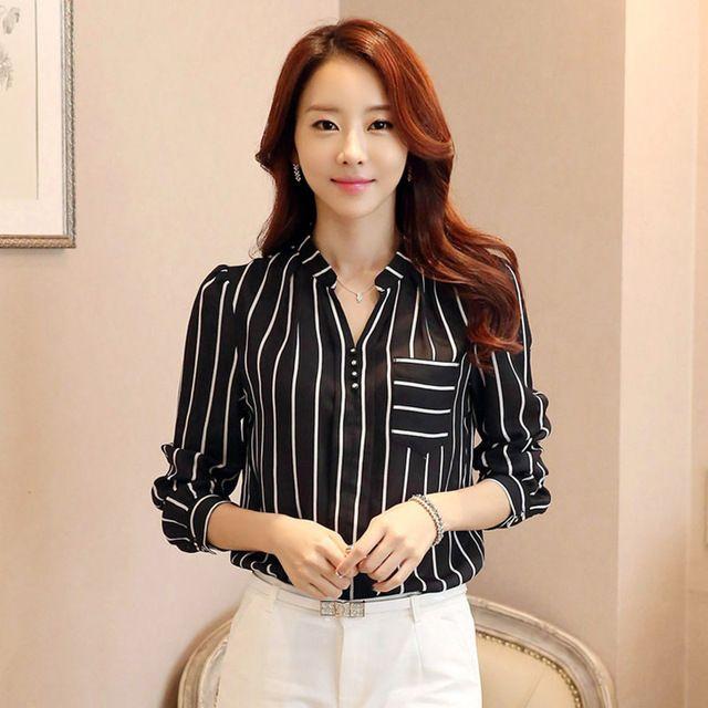 a7580103755b Mujeres Blusa Rayada Coreana Blusa Camisas Mujer de Manga Larga de Gasa Blusas  Shirt Mujeres Tops Moda 2017 Blusas Mujer Donne