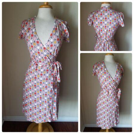 eb8a83683d93c New Boden Women's Dress NWOT Pink Floral Retro Wrap dress V-Neck 3/4 ...