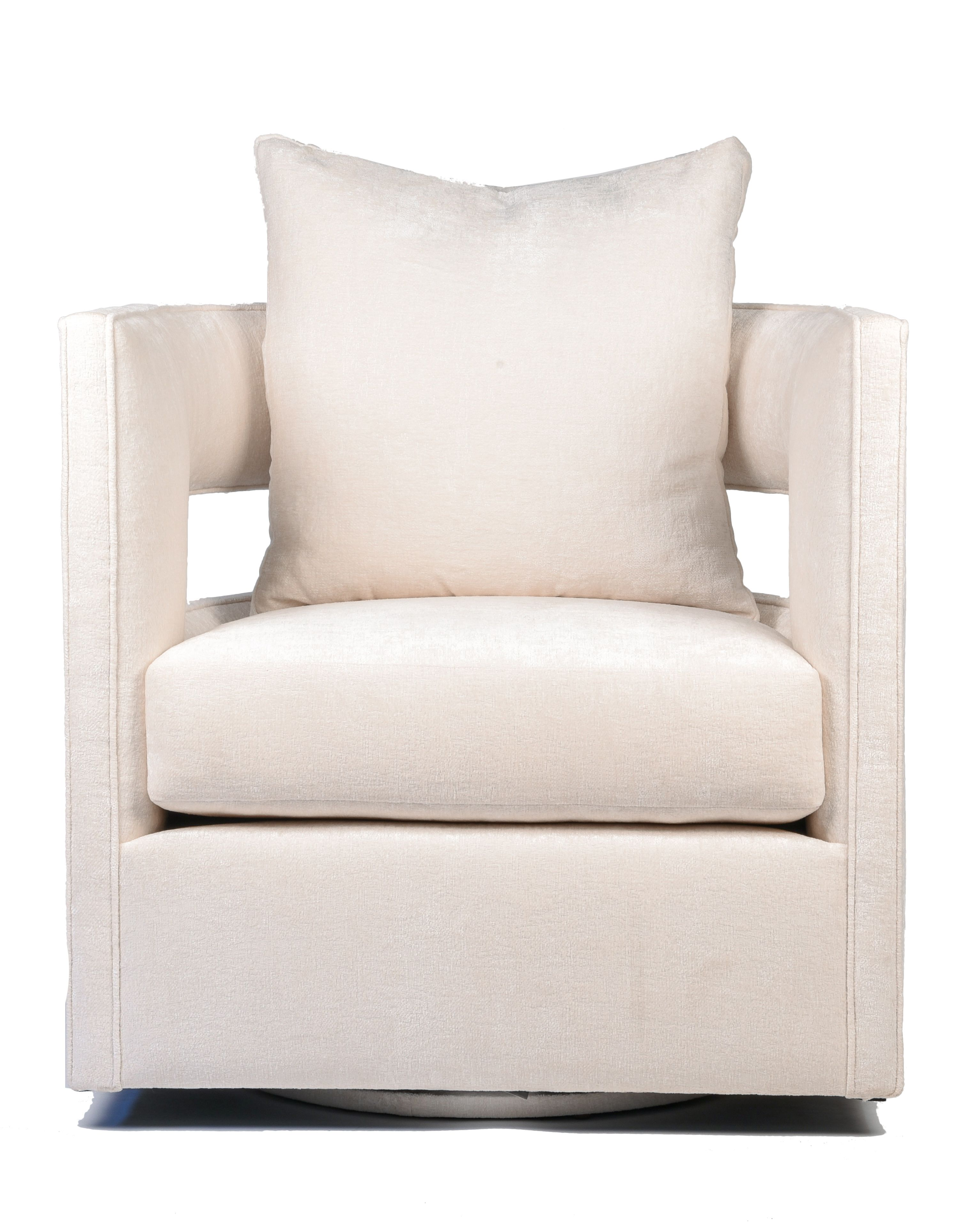 White Swivel Chair With Cutout Back Custom Upholstery Sold At Blue Print Blueprintstore Com Furniture Boutique White Swivel Chairs Furniture