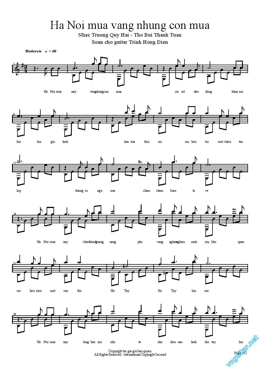 Sheet Guitar Classic H Ni Ma Vng Nhng Cn Ma Arr Trnh