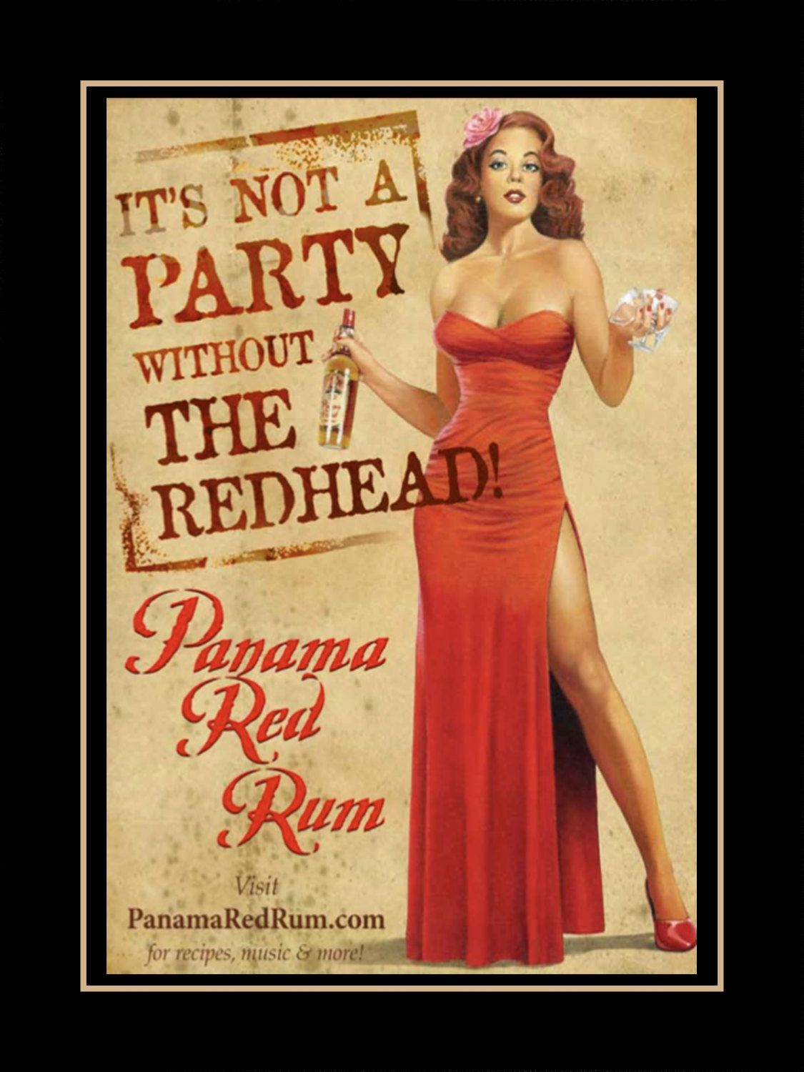 Vintage Party Poster Red Head Gift Pin Up Redhead Black Kitchen
