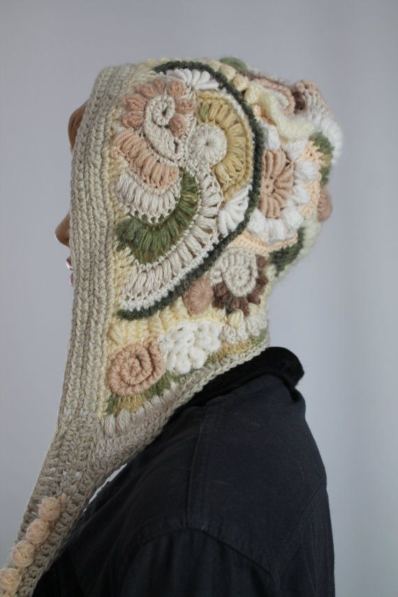Pastel Ivory White Beige Freeform Crochet Hood - Hooded Scarf - Hat ...
