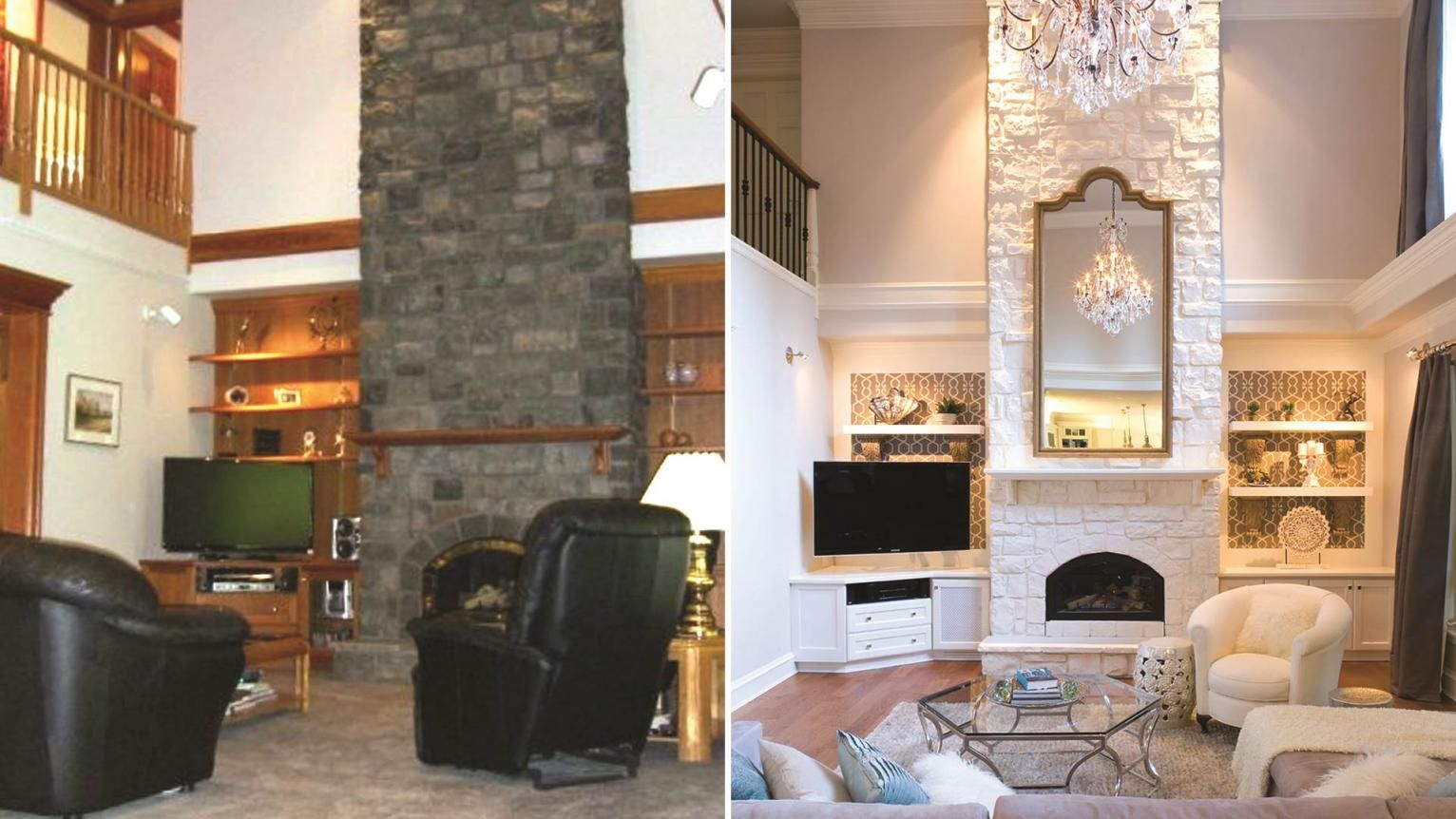 Contemporary room renovations with mirror above fireplace mantel