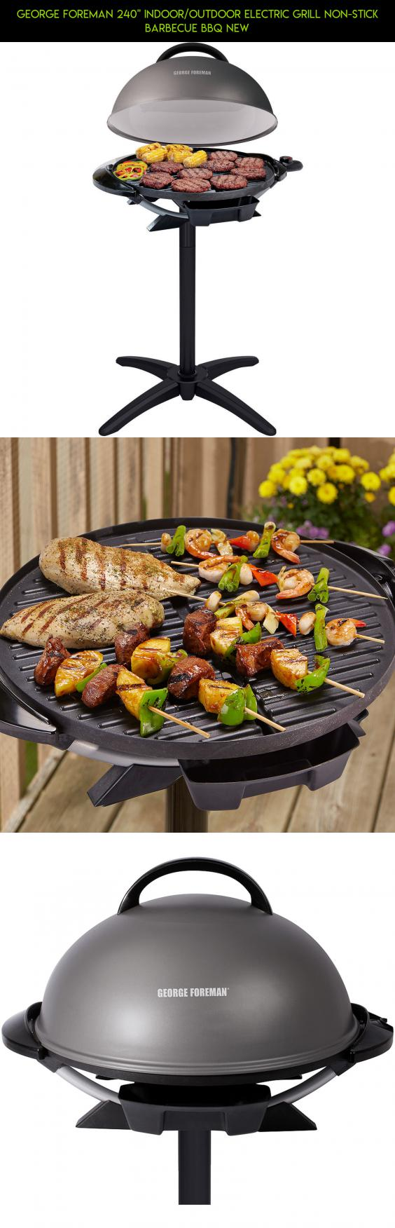 George Foreman 240 Indoor Outdoor Electric BBQ Grill Non Stick Barbecue BBQ