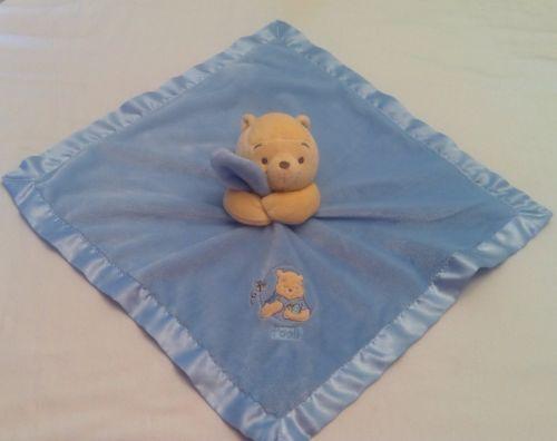 Disney Winnie The Pooh Security Blanket Lovey Blue Satin