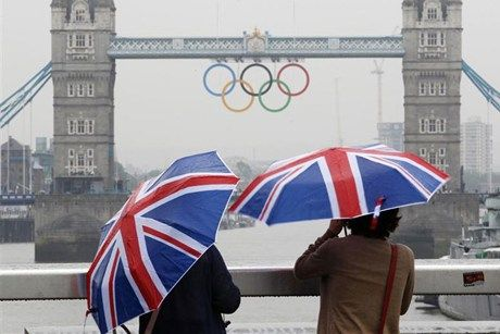 London Olympic Games 2012 Rings on London Bridge