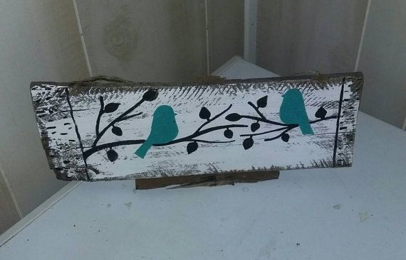 Freehand Birds on a limb pallet sign teal bird by SassyDsigns