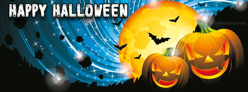 Amazing Happy Halloween Night Pumpkins Bats Facebook Cover CoverLayout.com