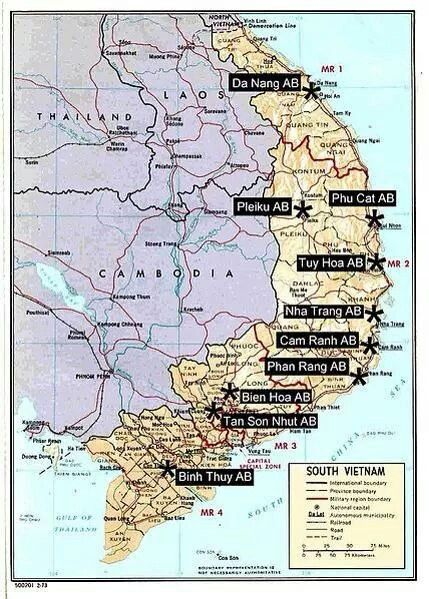 Air Bases in Vietnam | Combat! | Vietnam war, Vietnam map
