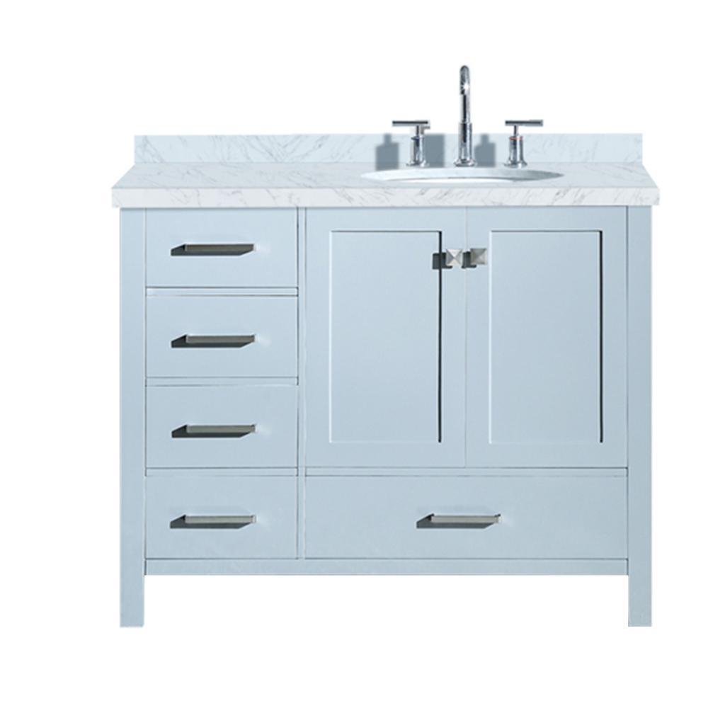 Ariel Cambridge 43 In Bath Vanity In Grey With Marble Vanity Top