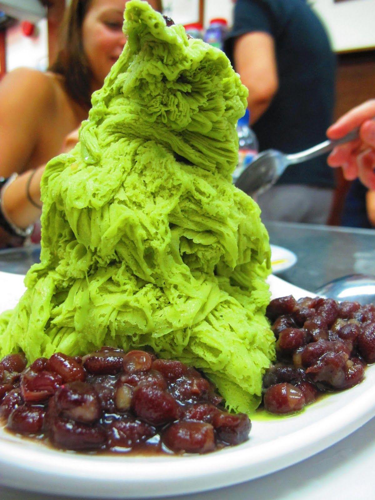 Green Tea Ais Kacang (snow ice, shaven ice dessert). Mei