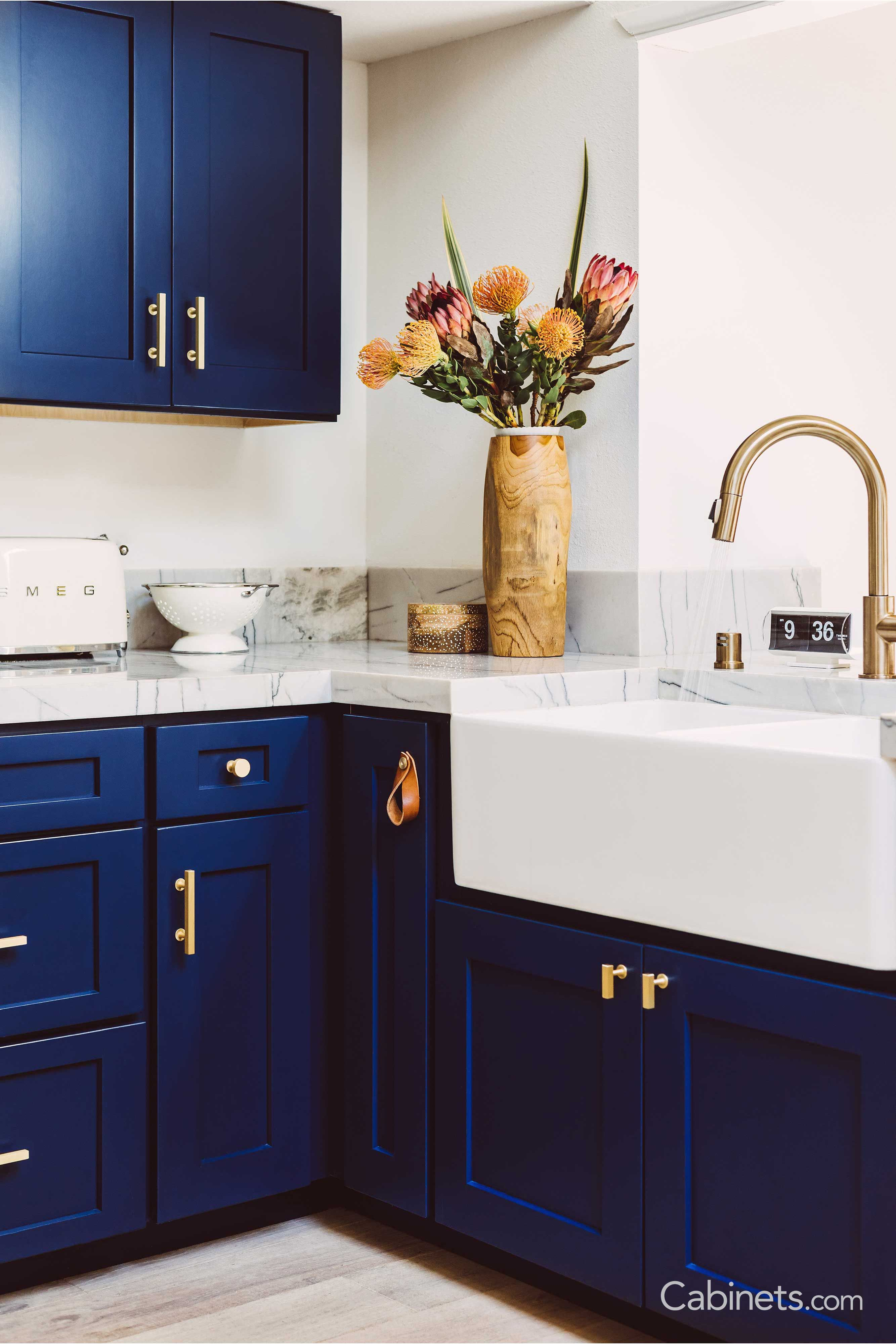 Naval Cabinets And Gold Hardware What Kitchen Dreams Are Made Of Blue Kitchen Decor Diy Kitchen Renovation Navy Kitchen Cabinets