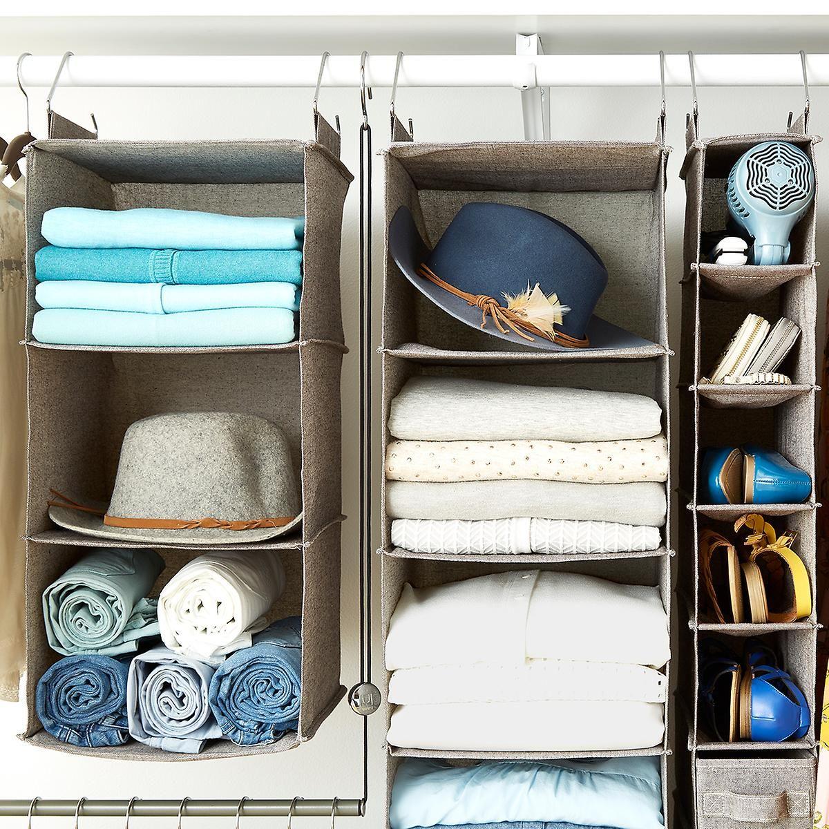 Merveilleux Grey 3 Compartment Hanging Sweater Organizer