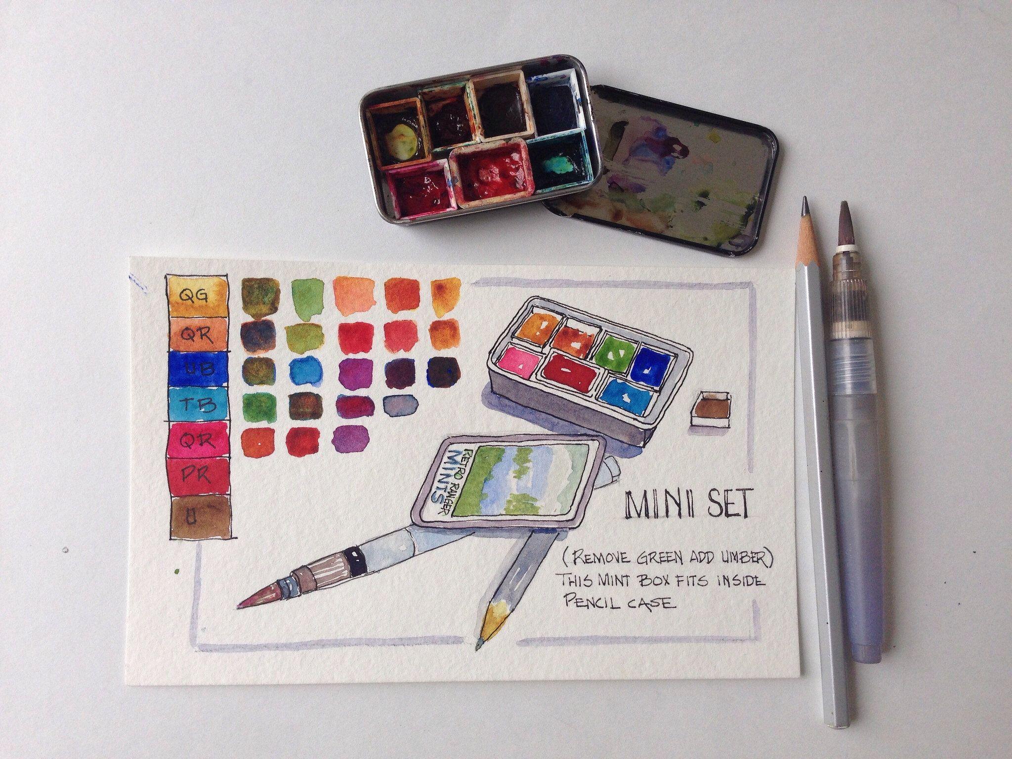 Mini Set Watercolor Kit Sketch Book Travel Art Kit