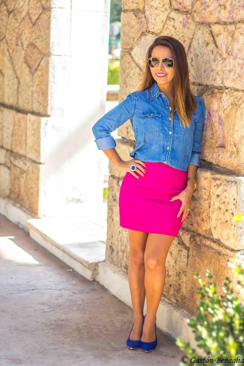 diseño innovador auténtico super calidad Nada discreto!!! Brillante falda fucsia | Outfits | Faldas ...