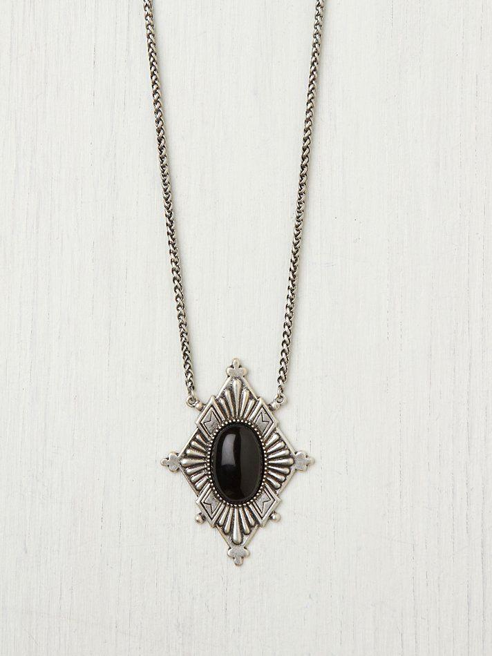 black, Dudine Frida Diamond Pendant at Free People Clothing Boutique