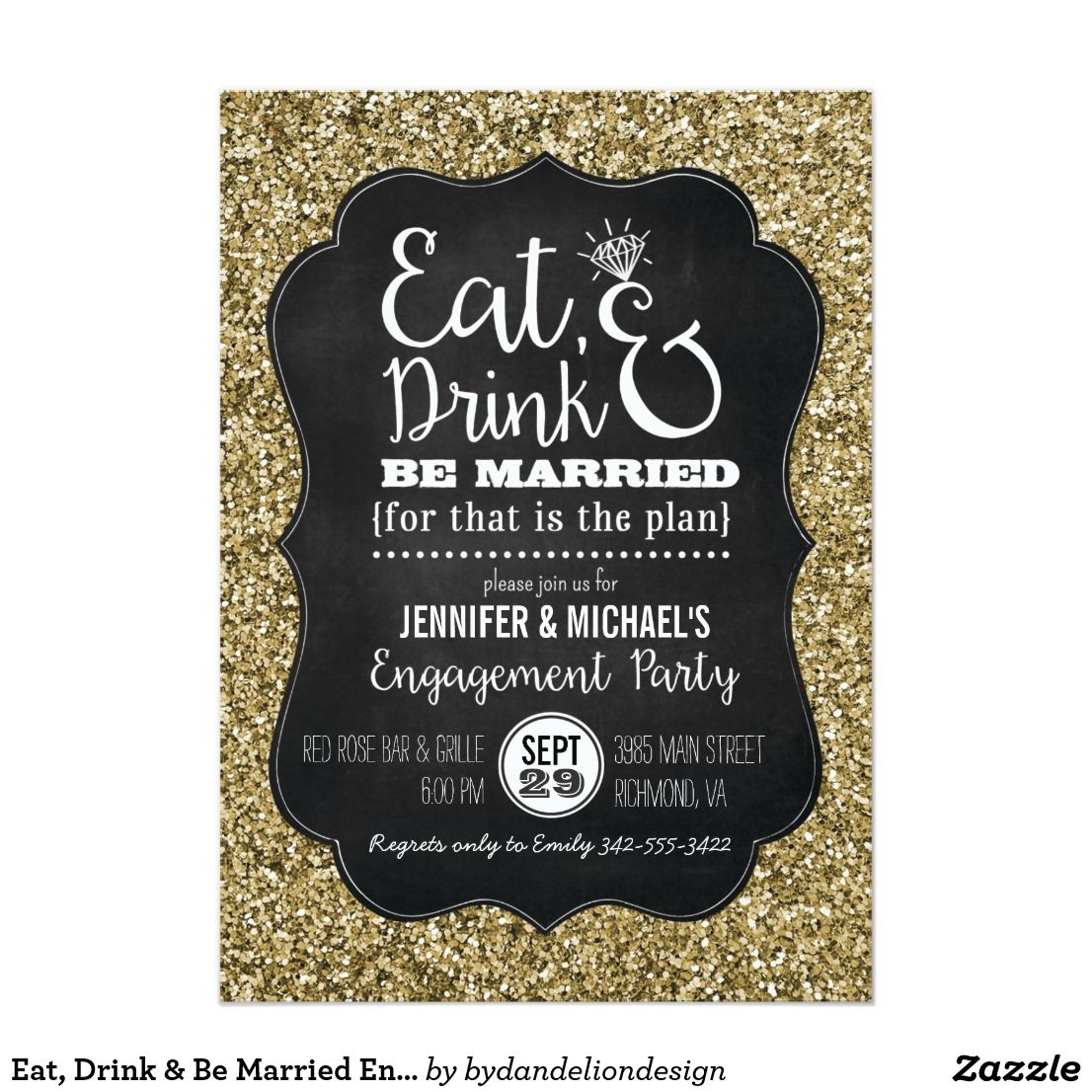 Eat Drink Be Married Engagement Party Invite Wedding