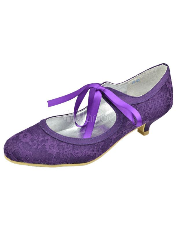 Purple Round Toe Flower Lace Wedding Shoes
