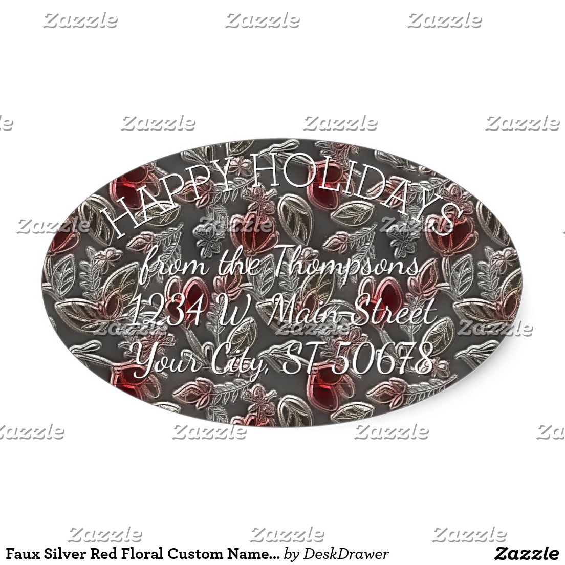 Faux Silver Red Floral Custom Name Address Label Oval Sticker. Unique, classic, trendy, pretty and decorative Holiday season address label. Beautiful, unique, classic, trendy, pretty and decorative image of elegant faux glass red and silver vintage ornate flower pattern. With room to customize or personalize with your name and address.