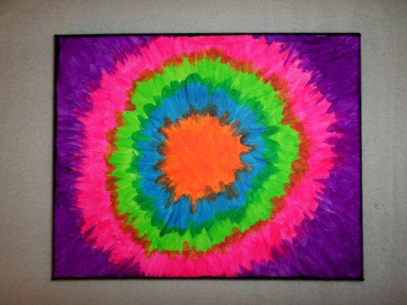 Tie Dye Canvas Tie Dye Painting Hippie By Akmfloralsandcrafts