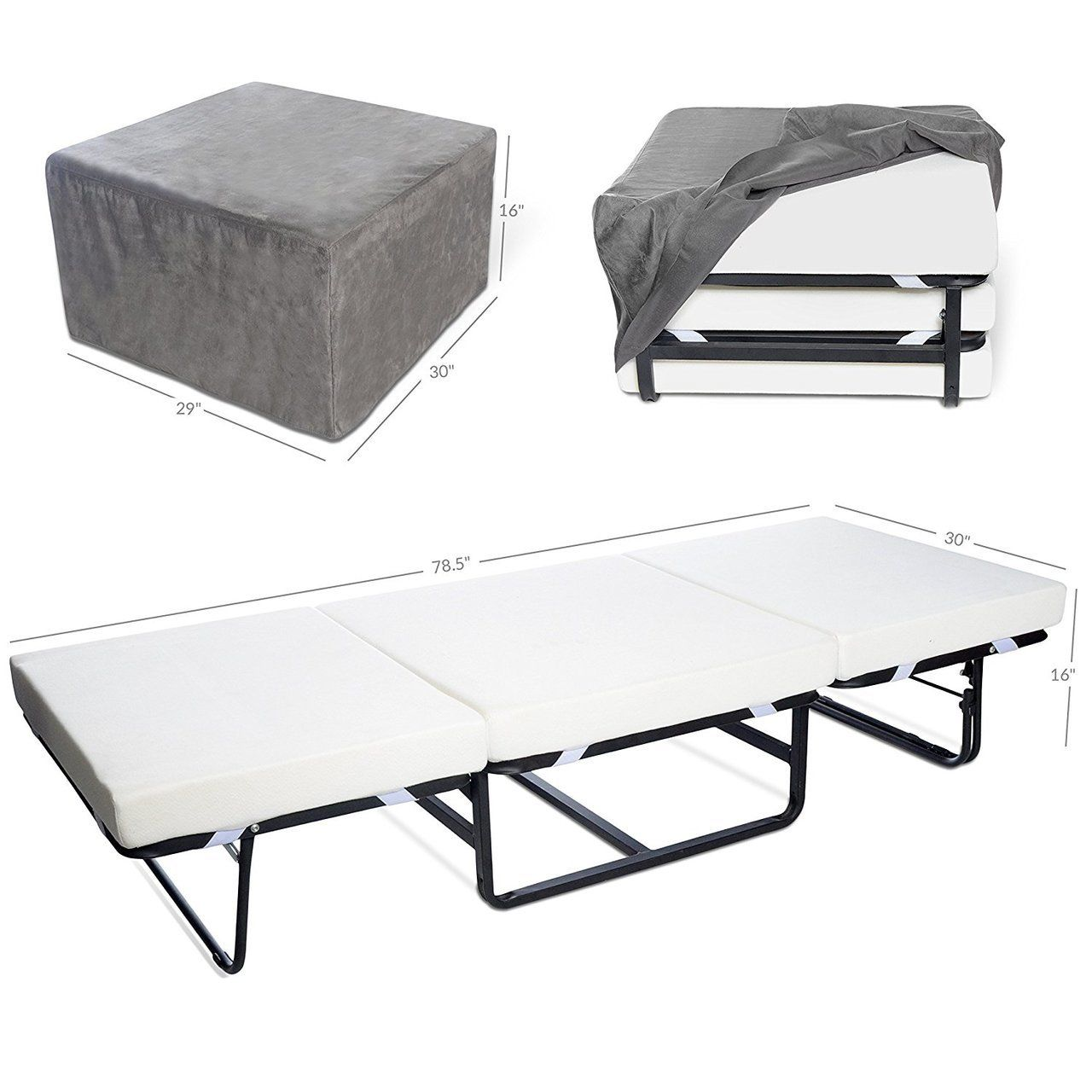 Folding Bed Ottoman Single Size with Gray Suede Cover, RV
