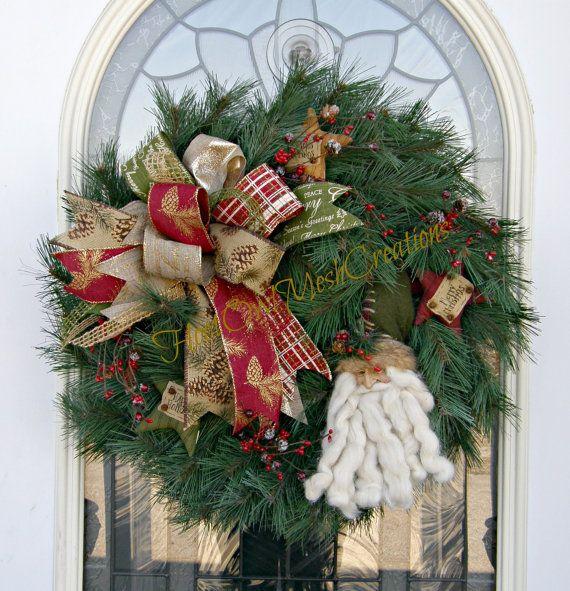 Vintage Santa Claus Wreath  Pine Wreath  by HootOwlMeshCreations