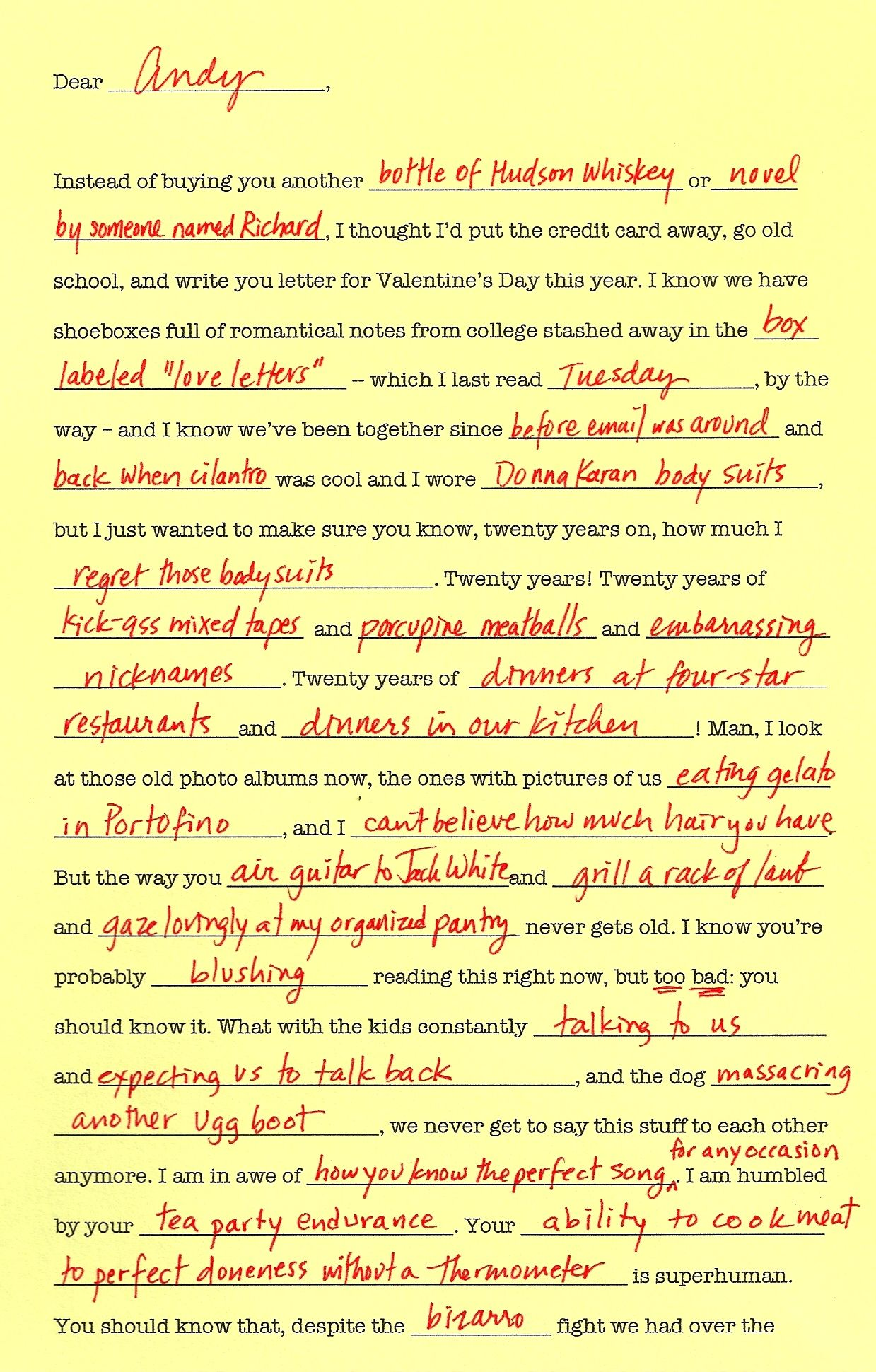 Fill In The Blank Love Letter Hello Story Valentine Wishes
