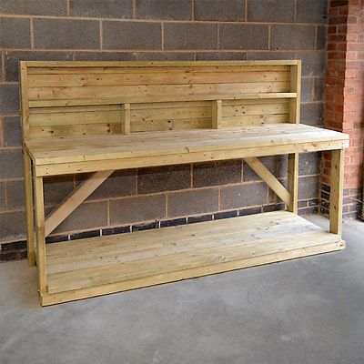 Wooden Work Bench With Back Panel Heavy Duty Hand Made In The Uk Wooden Work Bench Diy Garage Work Bench Garage Work Bench