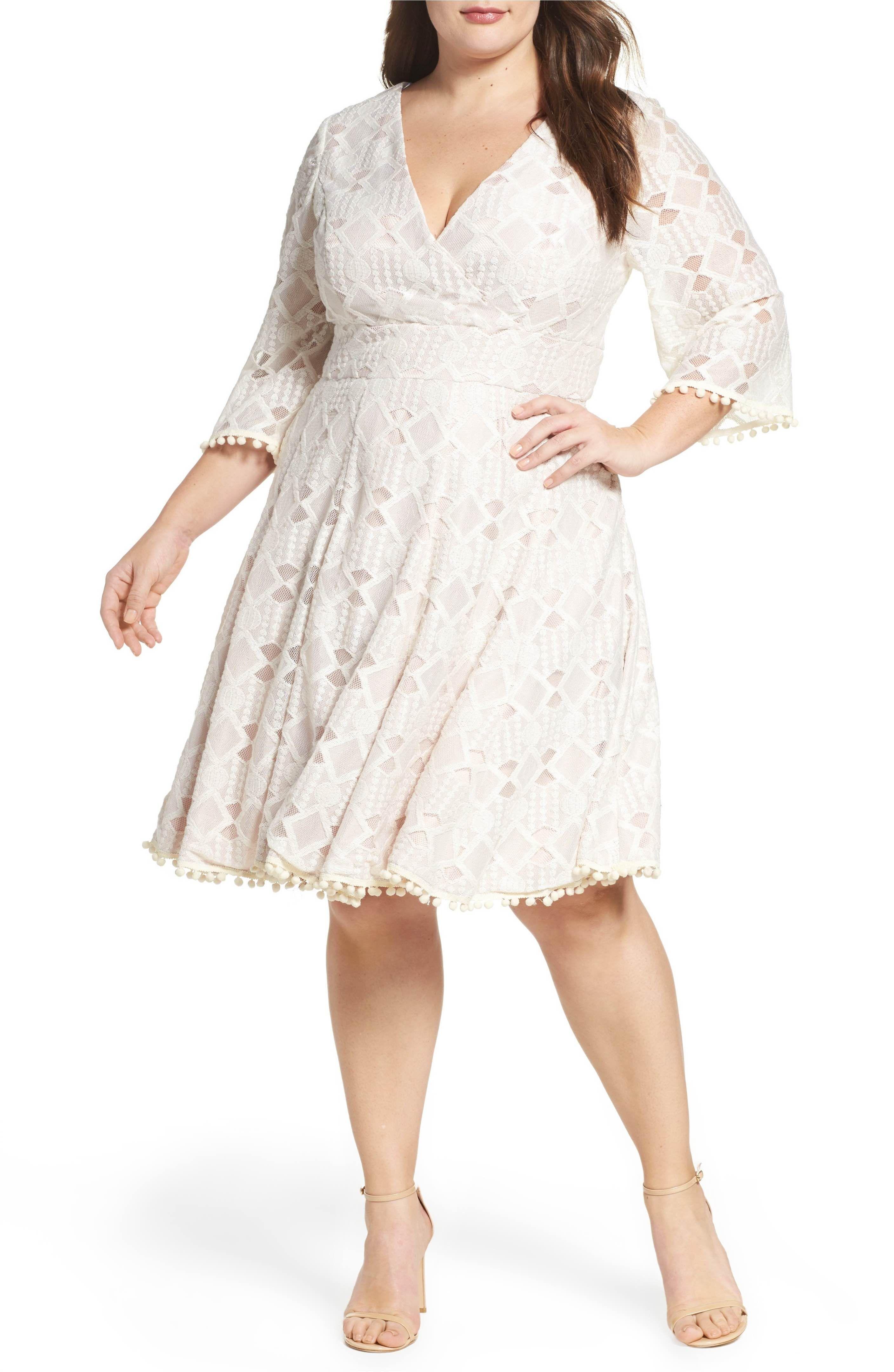 0a3fb66df9 Eliza J Lace Fit & Flare Dress (Plus Size)