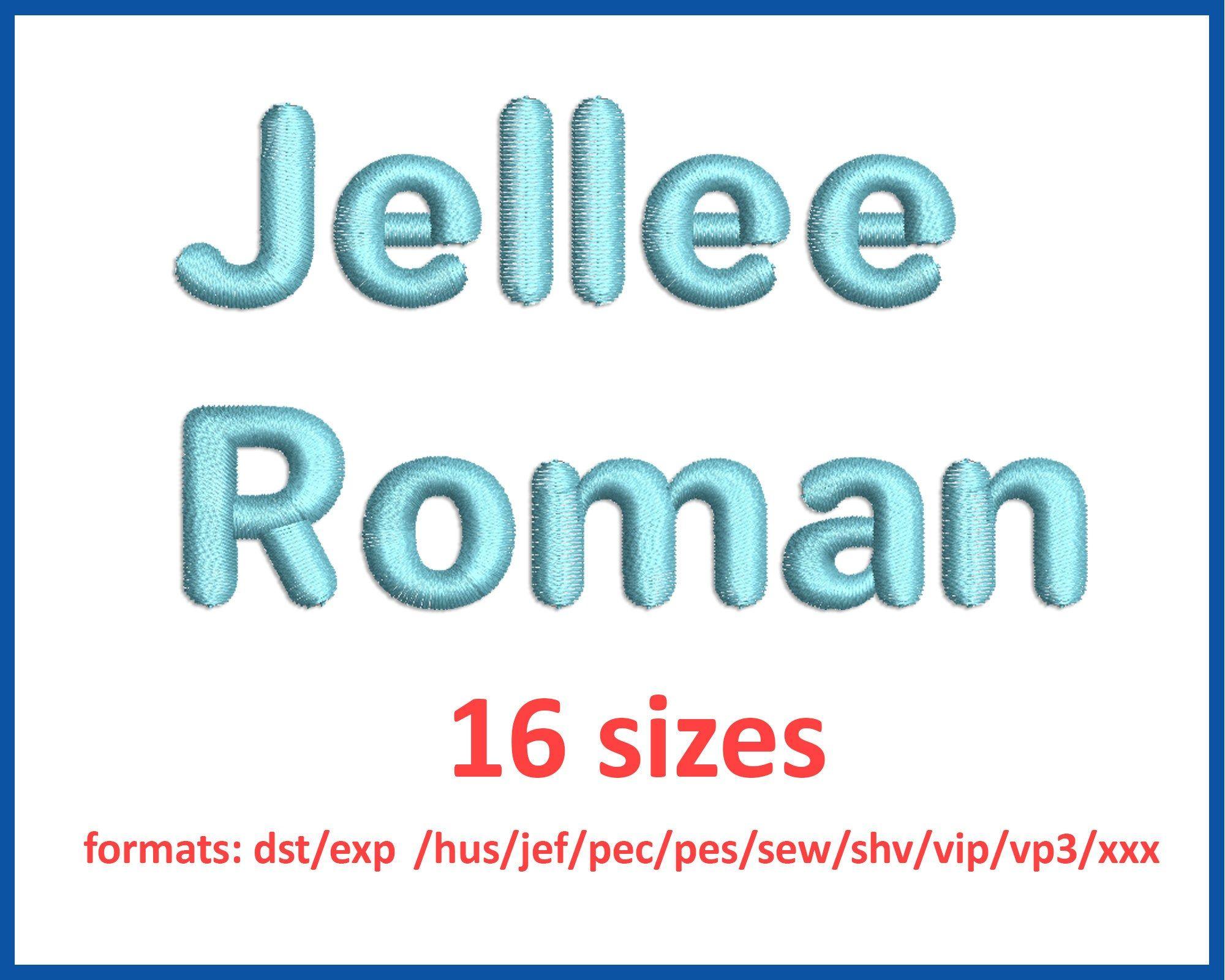 Jellee Roman font embroidery design 0.25, 0.5, 0.75, 1, 1
