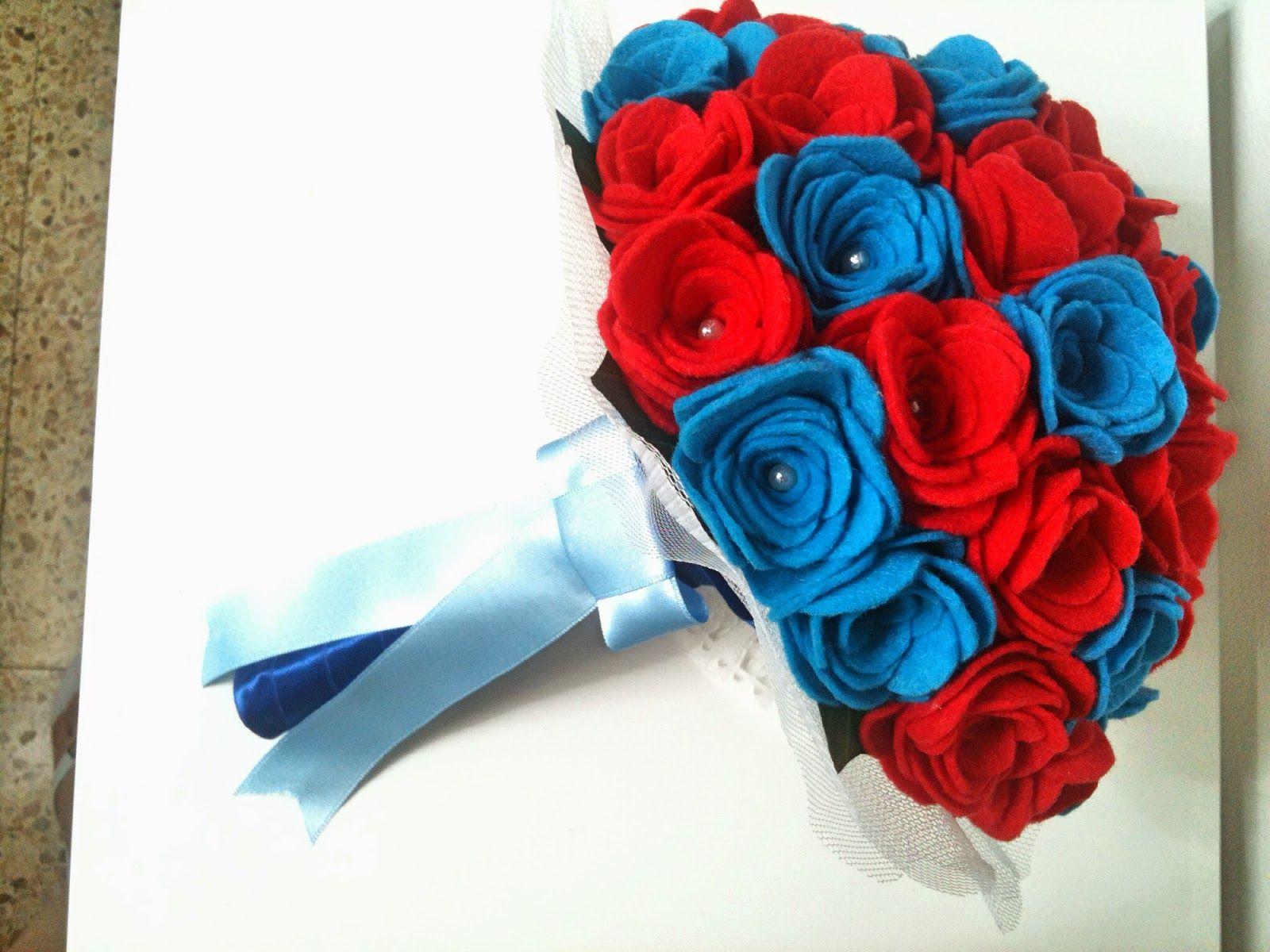 Ramo De Fieltro Rosas Rojas Y Turquesa Felt Felt Flowers Felt