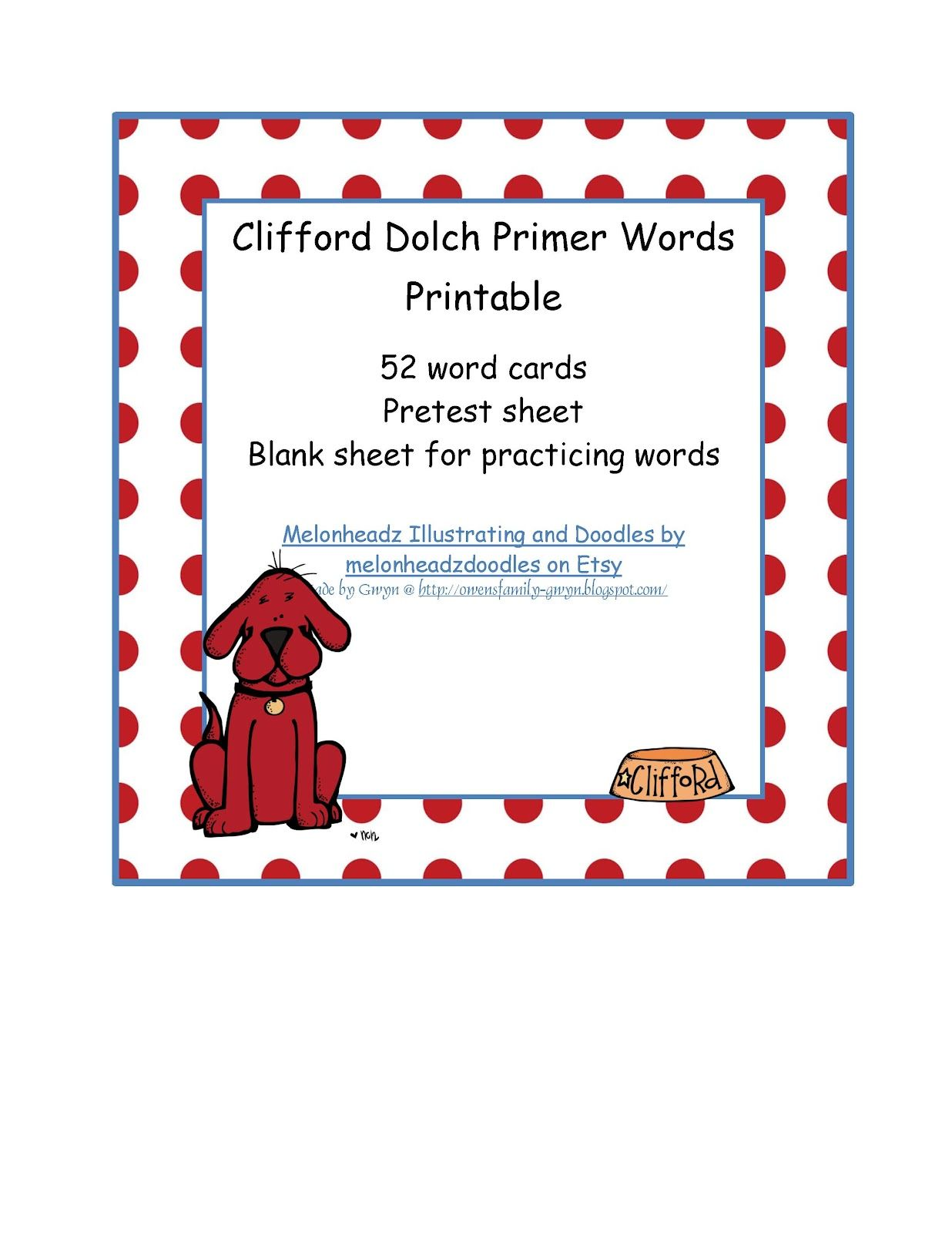 Clifford Dolch Primer Words Printable 0 99