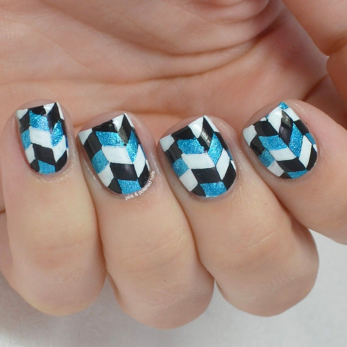 Herringbone Nail Art With Cg So Blue Without You Herringbone And