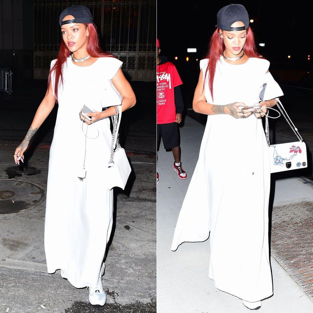Rihanna sheer overall maxi dress