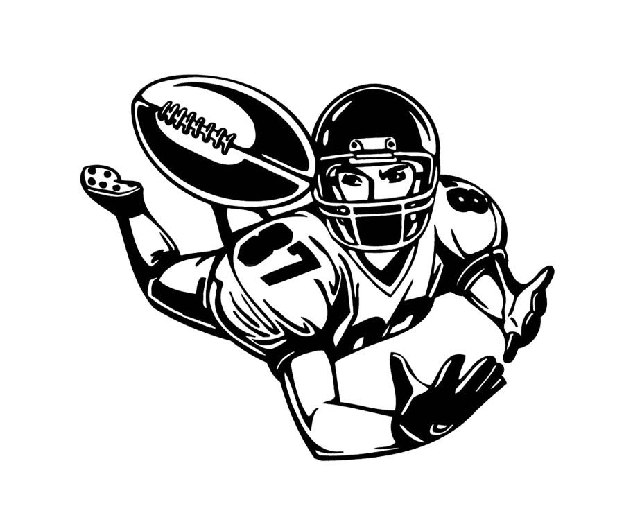 Football Player Catch The Ball Coloring Page For My Pandas