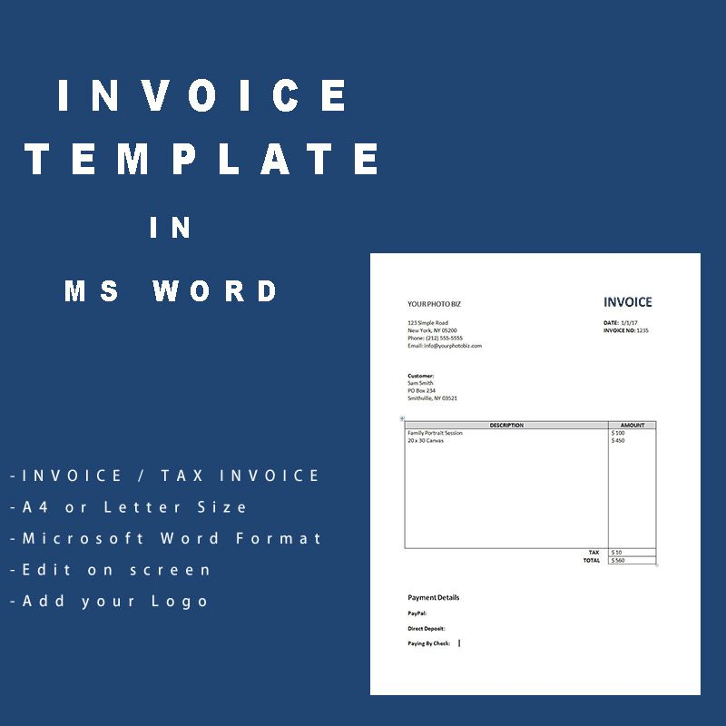 Simple Invoice Template Photography business, Photographers and