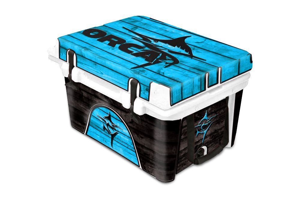 Orca Cooler Accessories Graphic Wrap Kit Marlin Wood Blue Www Usatuff Com Orca Cooler Cooler Accessories Cool Wraps