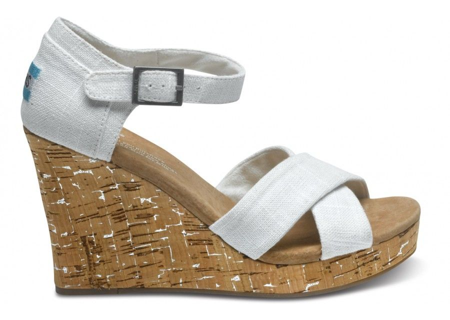 Unbelievable Prices and Quality with Ivory Linen Women's Strappy Wedges -  Toms Festival Guide Shoes White.