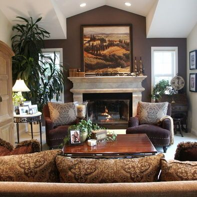 clasical furniture style living room accent wall ideas | Traditional Home Rock Fireplace With Windows On Each Side ...
