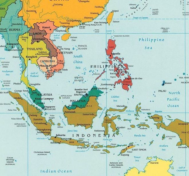 Map Of Southeast Asia Brunei Cambodia Indonesia Laos Myanmar