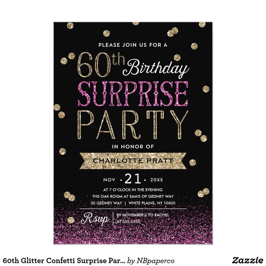 60th glitter confetti surprise party invitation zazzle
