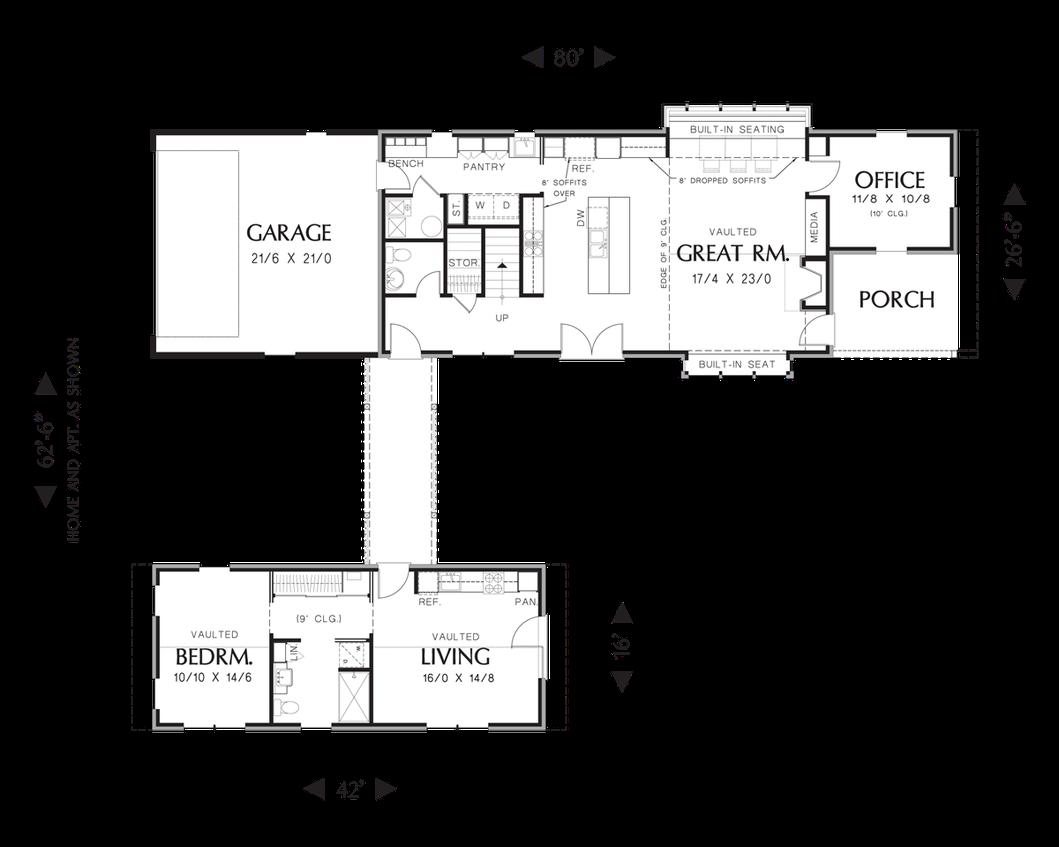 Mascord House Plan 22196 The Somerset House Plans House Plans One Story Contemporary House Plans
