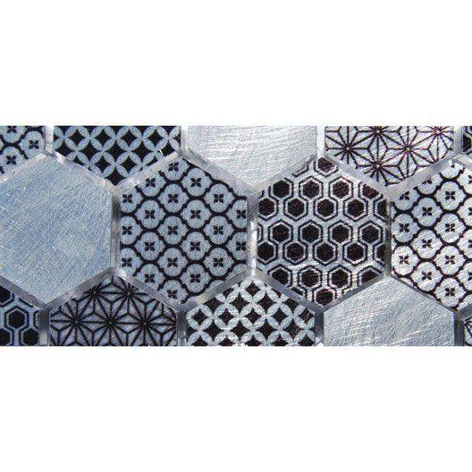 Frise Techno Hexa Gris L 5 5 X L 57 6 Cm Avec Images Frise Parement Mural Carrelage Gris