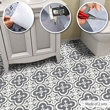 Amazon Com Alwayspon Non Slip Vinyl Floor Sticker Waterproof Pvc Backsplash Tile Decal Self Adhesive Peel And Stick Wall Sticker For Home Decor 23 6 With Images Flooring