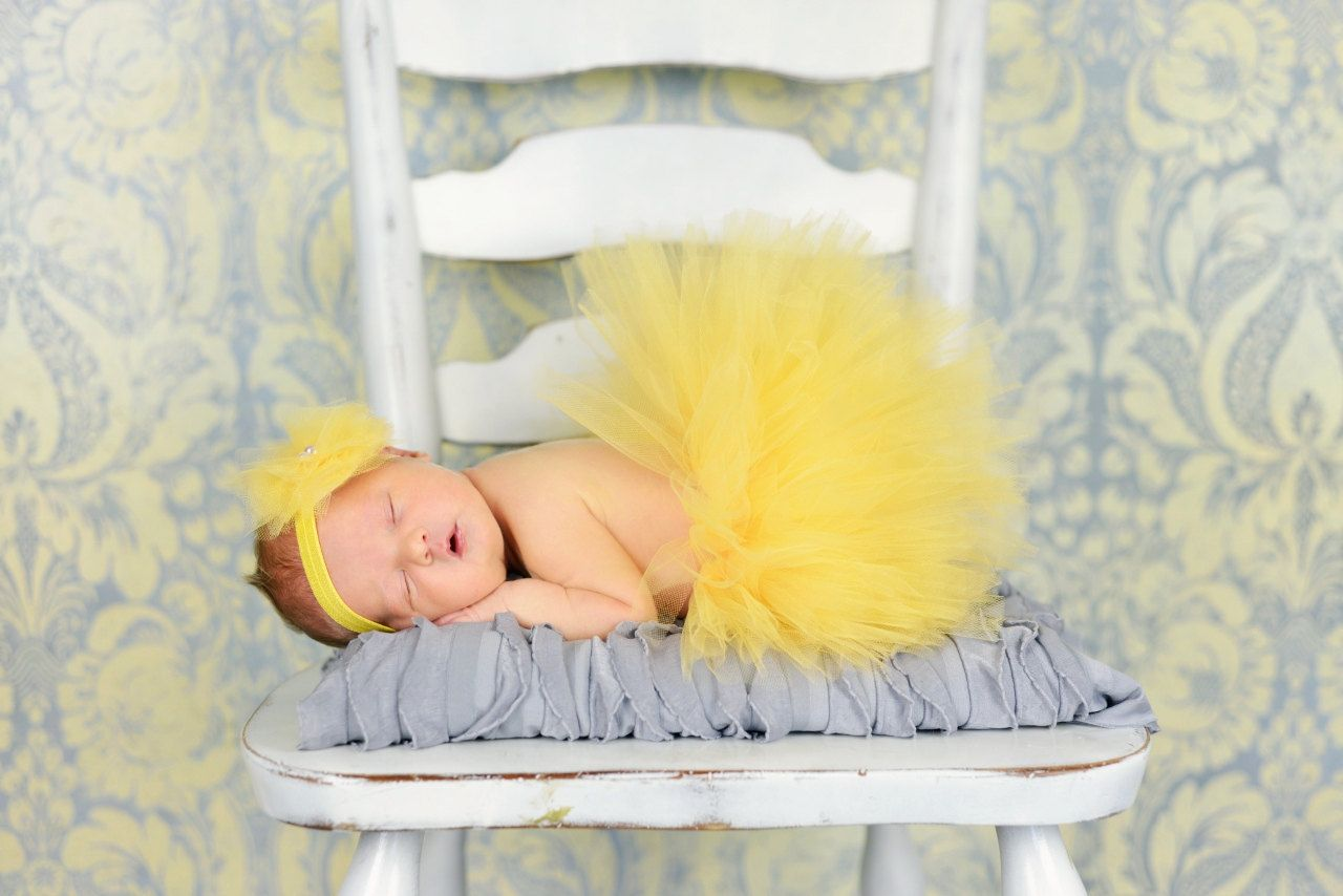 yellow tulle tutu matching headband newborn photo by BBMCreations, $28.00