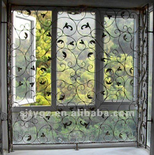Most popular sliding window grill design of wrought iron for Iron window design house