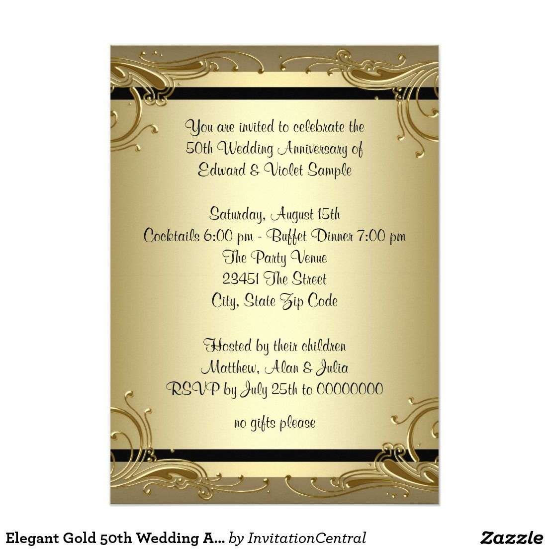 Elegant Gold 50th Wedding Anniversary Party Invitation Zazzle Com 50th Anniversary Invitations Wedding Anniversary Party Invitations 50th Wedding Anniversary Party