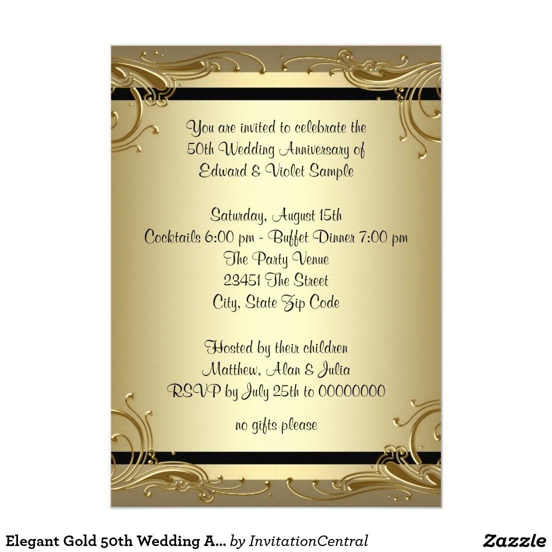 Golden Jubilee Wedding Anniversary Invitation Cards rugalah – Golden Wedding Party Invitations
