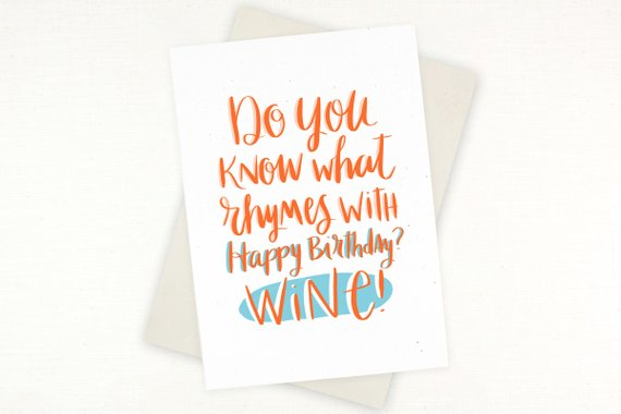 Birthday Card Rhymes With Wine For Her Funny Hilarious Silly Wino