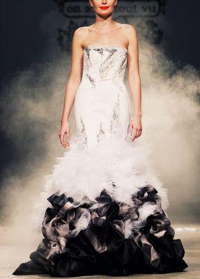 Outstanding black and white designer dress